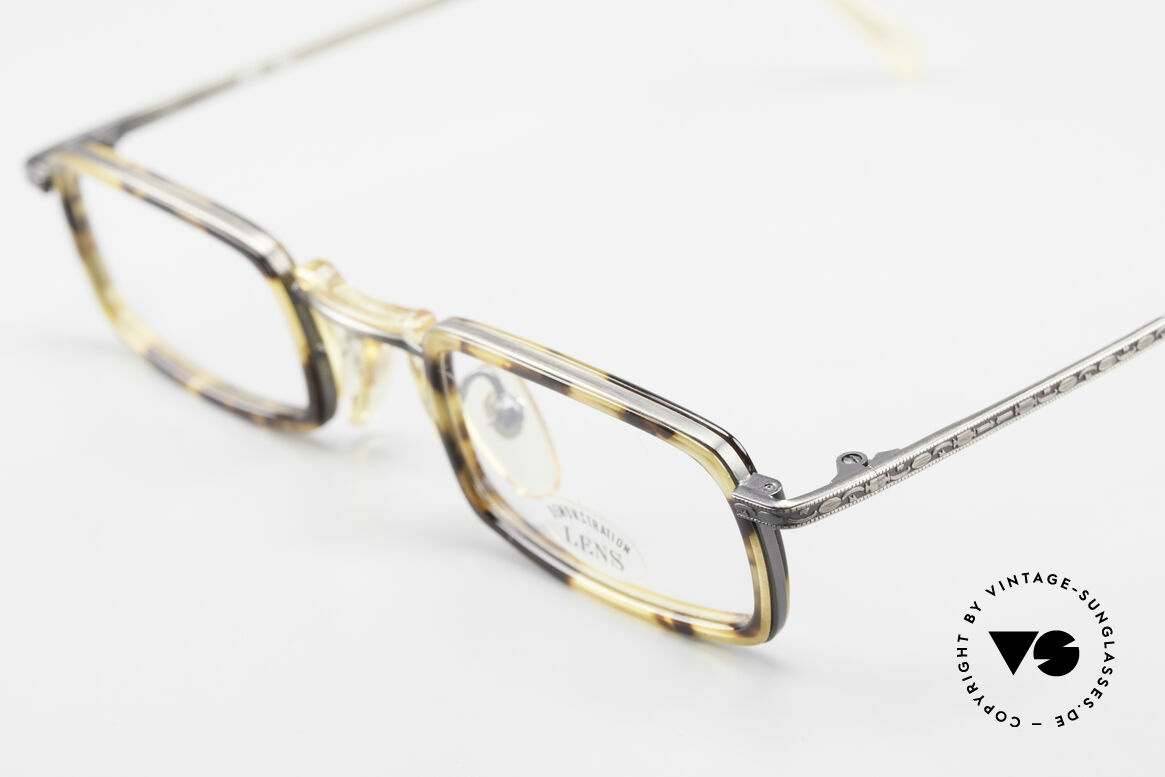 "Freudenhaus Jedi Square 90's Designer Frame, unique pattern in a kind of ""antique silver"" / tortoise, Made for Men and Women"