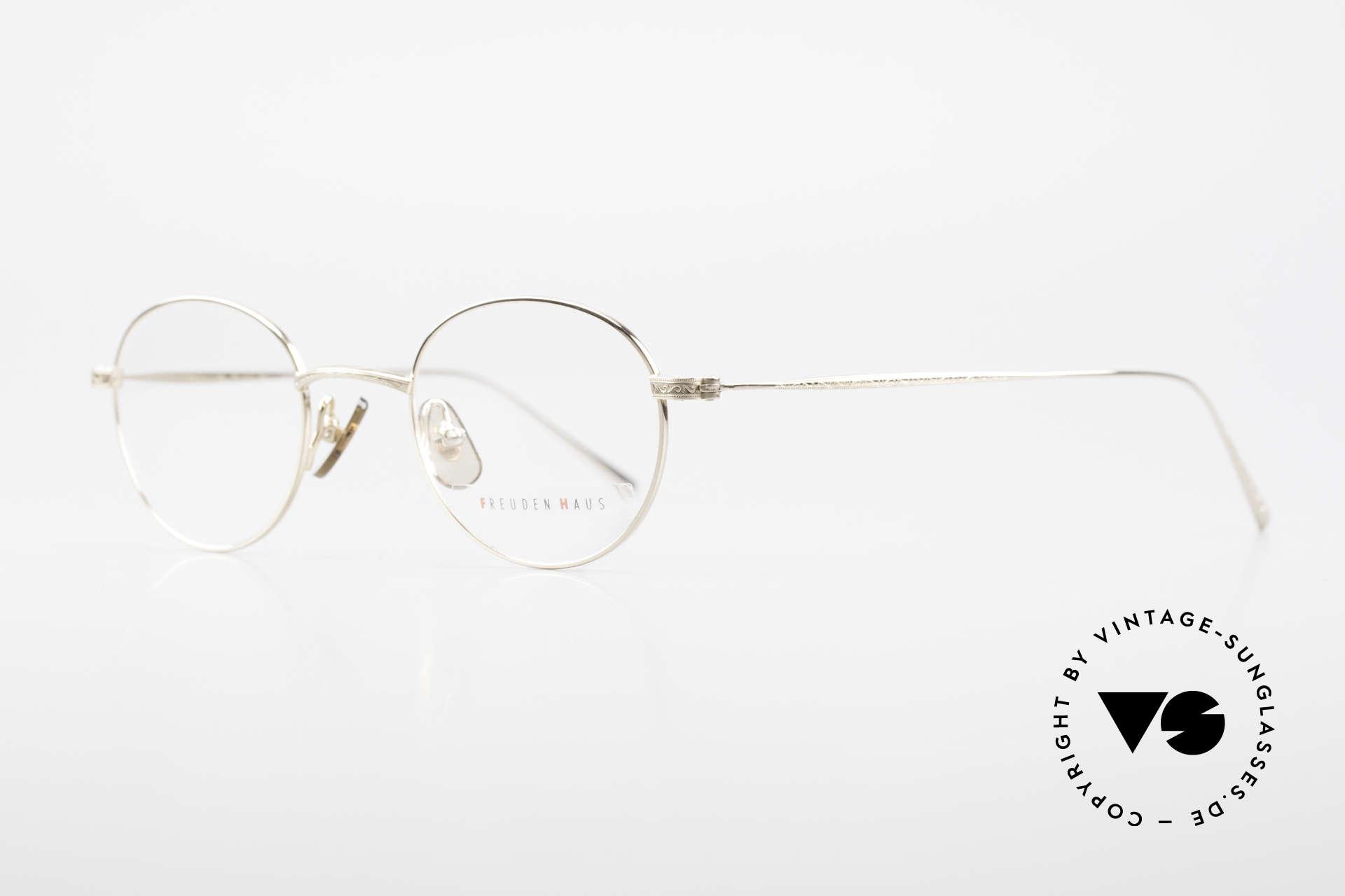 Freudenhaus Garland Small Round Designer Frame, top notch craftsmanship (JP), gold-plated titanium, Made for Men and Women
