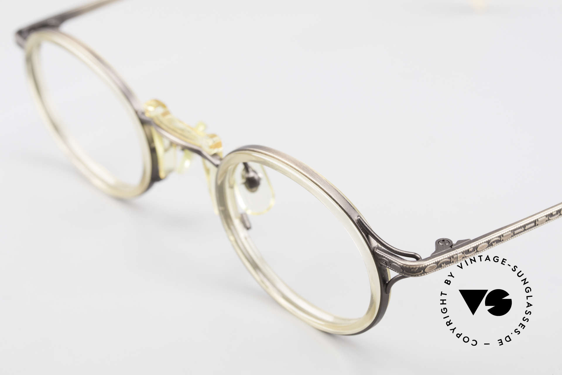"Freudenhaus Andua Oval Designer Glasses 90's, unique pattern in a kind of ""antique bronze"" & crystal, Made for Men and Women"
