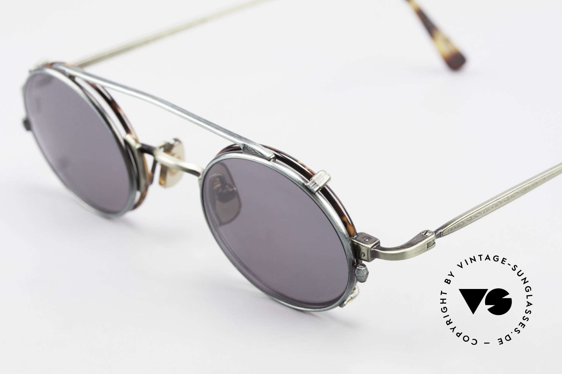 Freudenhaus Tori Small Round Frame Clip On, tortoise/green metallic frame & green-metallic Clip, Made for Men and Women