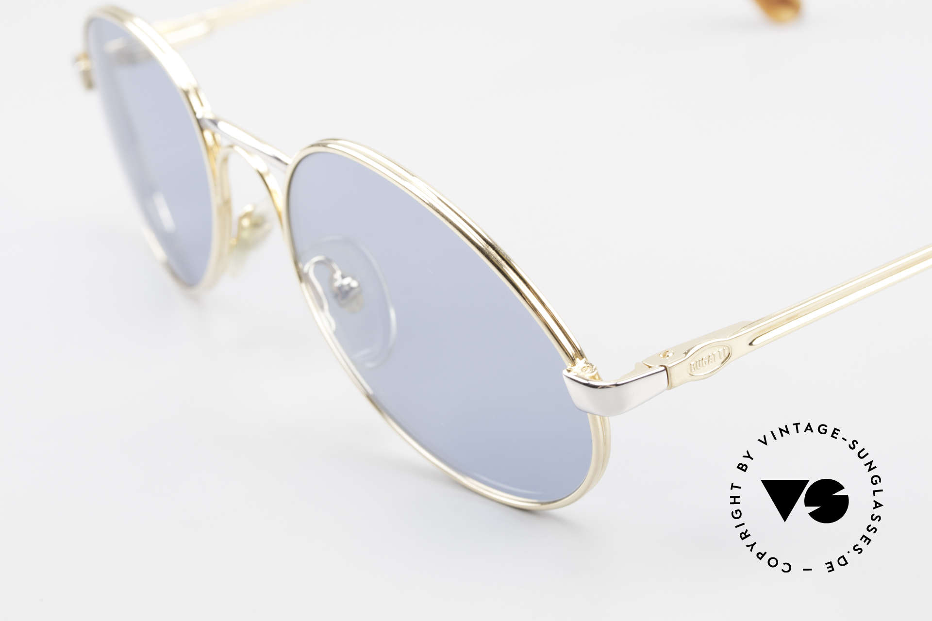 Bugatti 03308 True Vintage 80's Sunglasses, bicolor (gold/silver) with solid blue lenses (100% UV), Made for Men