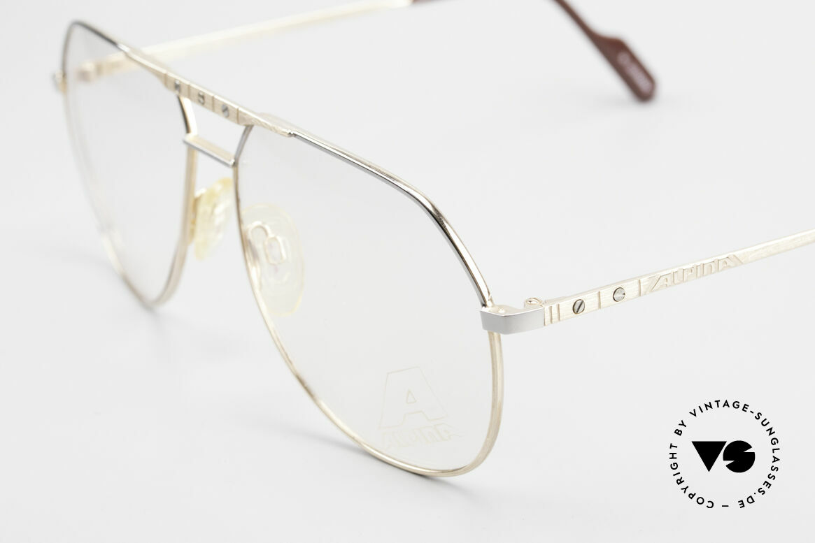 Alpina FM27 Classic Aviator Eyeglasses 80s, never worn (like all our rare vintage Alpina eyewear), Made for Men