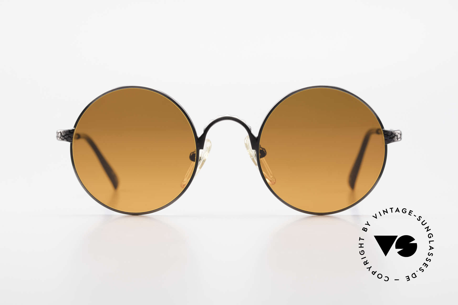 Jean Paul Gaultier 55-9671 Round 90's JPG Sunglasses, high-end metal frame with costly engravings, Made for Men and Women
