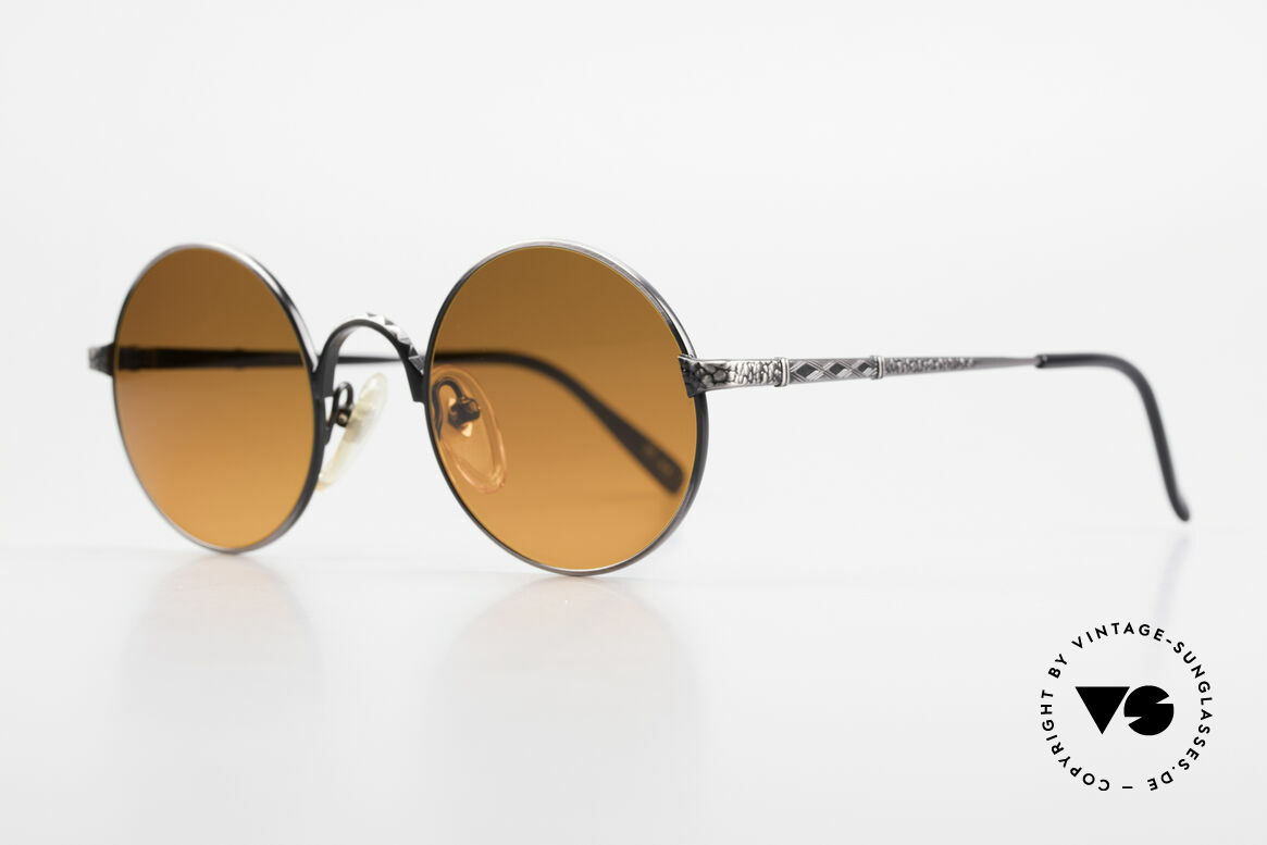 Jean Paul Gaultier 55-9671 Round 90's JPG Sunglasses, 'smoke silver' finish and SUNSET sun lenses, Made for Men and Women