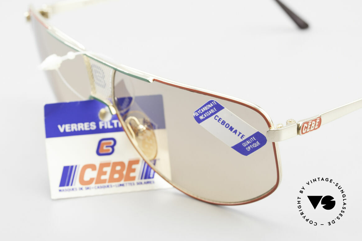 """Cebe 0299 90's Ski Sports Sunglasses, chic & """"casual lifestyle design"""" in red, green and gold, Made for Men and Women"""