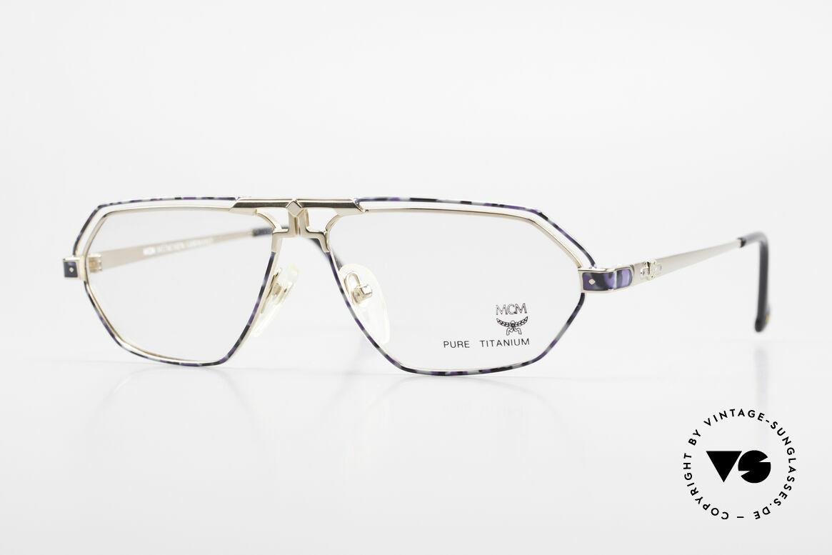 MCM München 13 Titanium Frame Blue Patterned, old designer eyeglasses by MCM from the early 1990's, Made for Men and Women