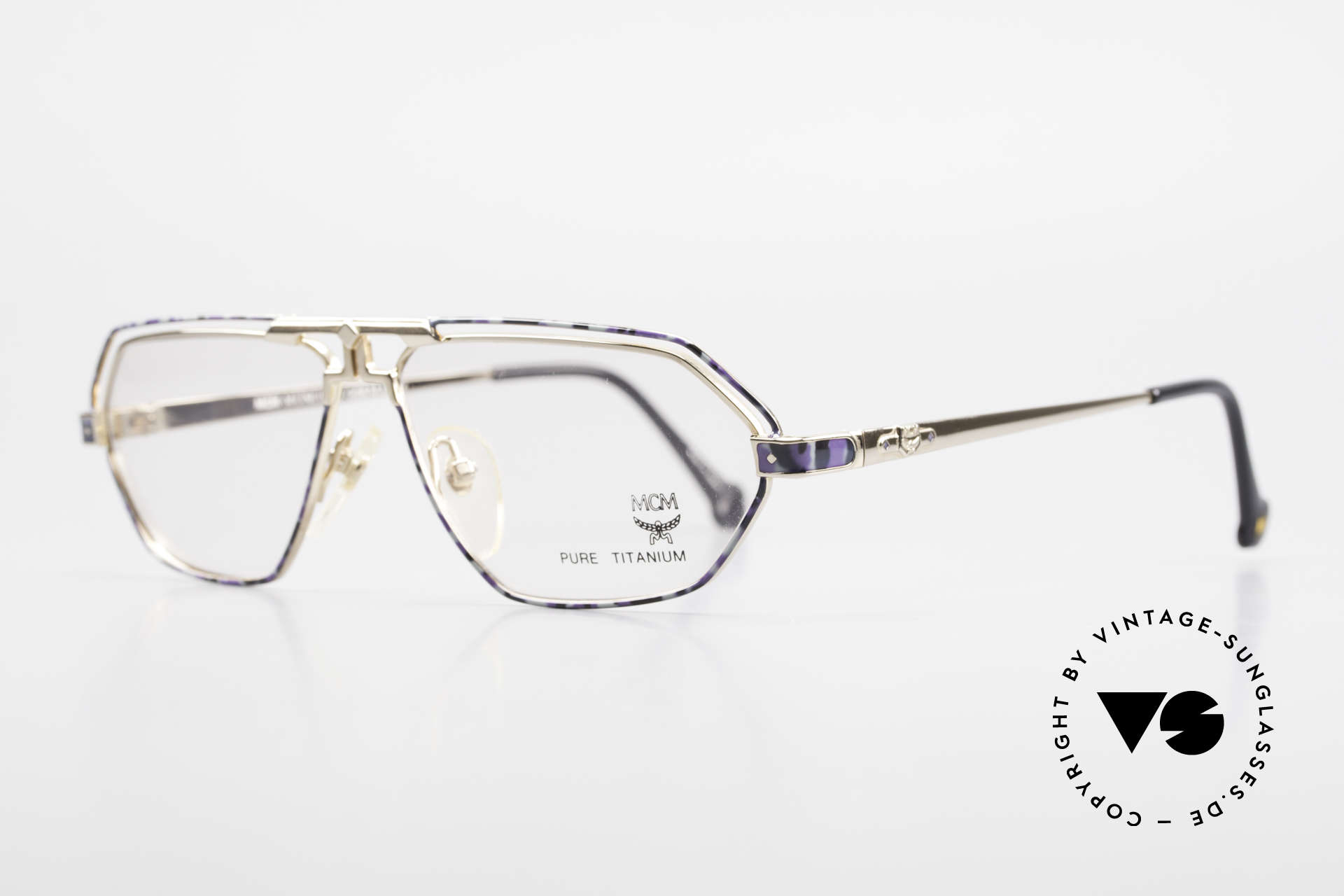 MCM München 13 Titanium Frame Blue Patterned, luxury eyeglasses by Michael Cromer (MC), Munich (M), Made for Men and Women
