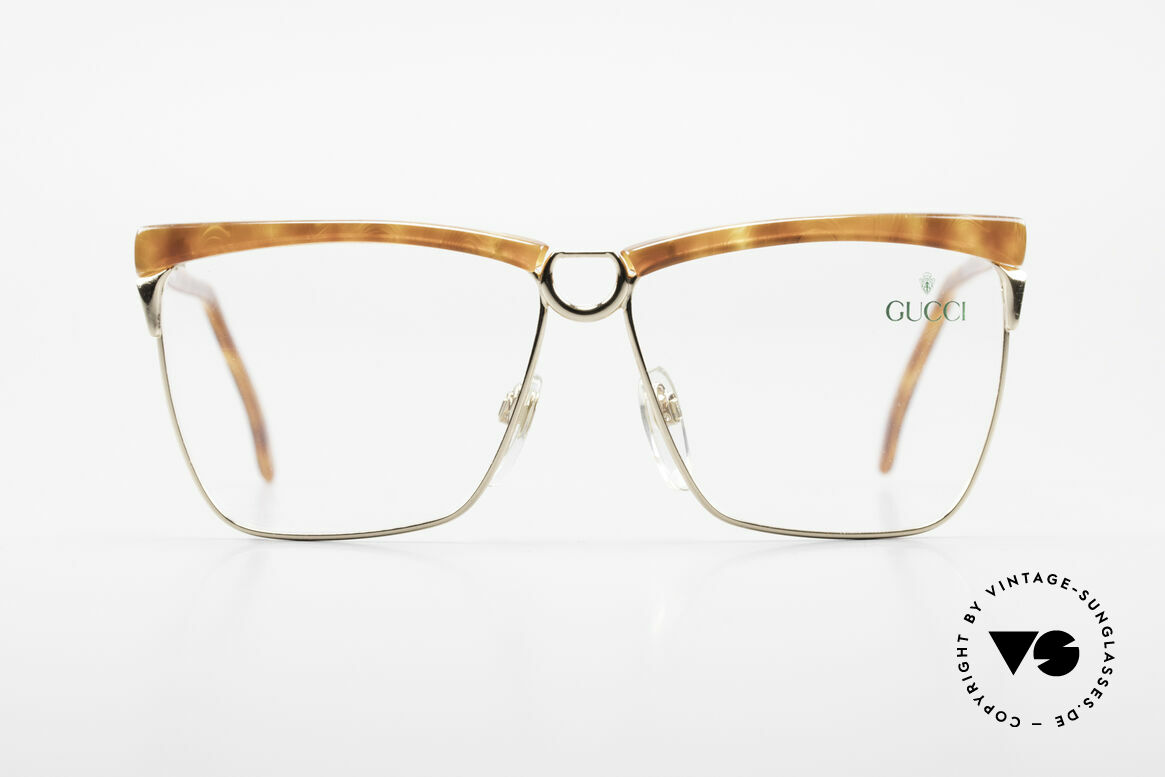 Gucci 2301 Ladies Designer Eyeglasses 80s, with the famous Gucci symbol (2 connected stirrups), Made for Women