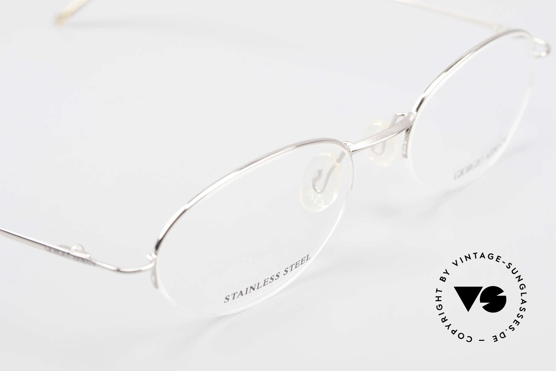 Giorgio Armani 26N Small Oval Eyeglasses Nylor, semi rimless = lenses are fixed with a Nylor thread, Made for Men and Women