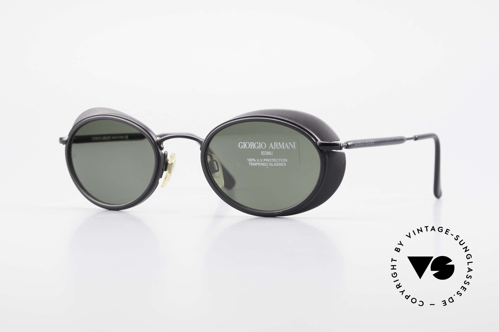 Giorgio Armani 666 Side Shields Frame Oval, 90's Armani designer sunglasses with small side shields, Made for Men and Women