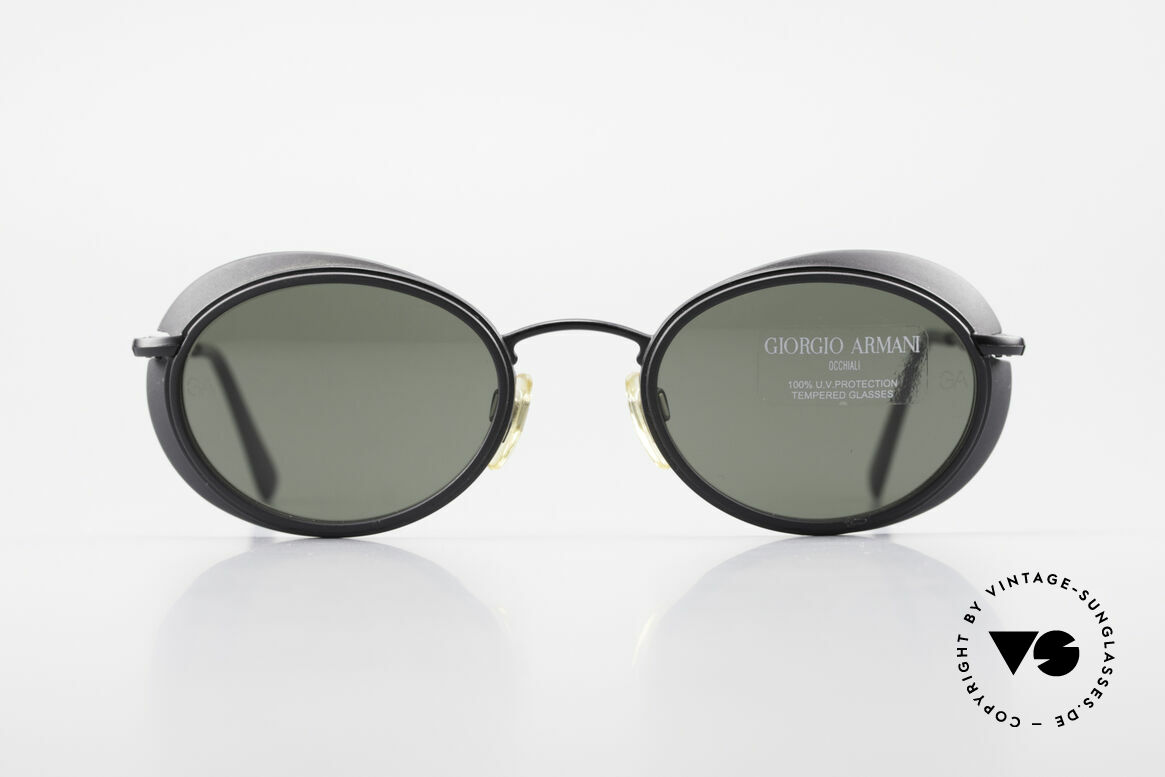 Giorgio Armani 666 Side Shields Frame Oval, high-end mineral lenses (scratch-resistant and 100% UV), Made for Men and Women