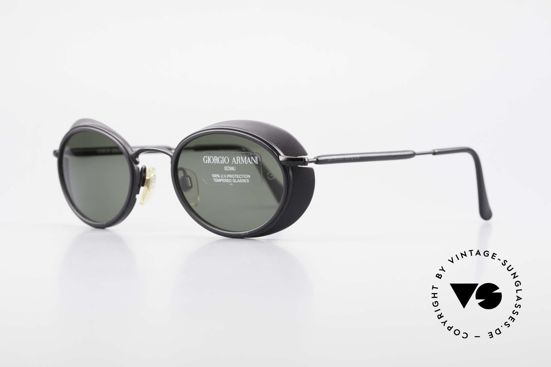 Giorgio Armani 666 Side Shields Frame Oval, nonreflecting coated lenses (with 'GA' engraving/etching), Made for Men and Women