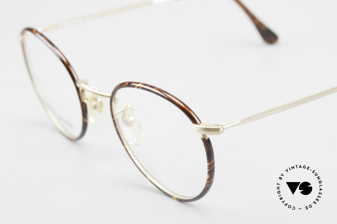 Giorgio Armani 112 90's Panto Eyeglasses Men, elegant color combination of chestnut-brown & gold, Made for Men
