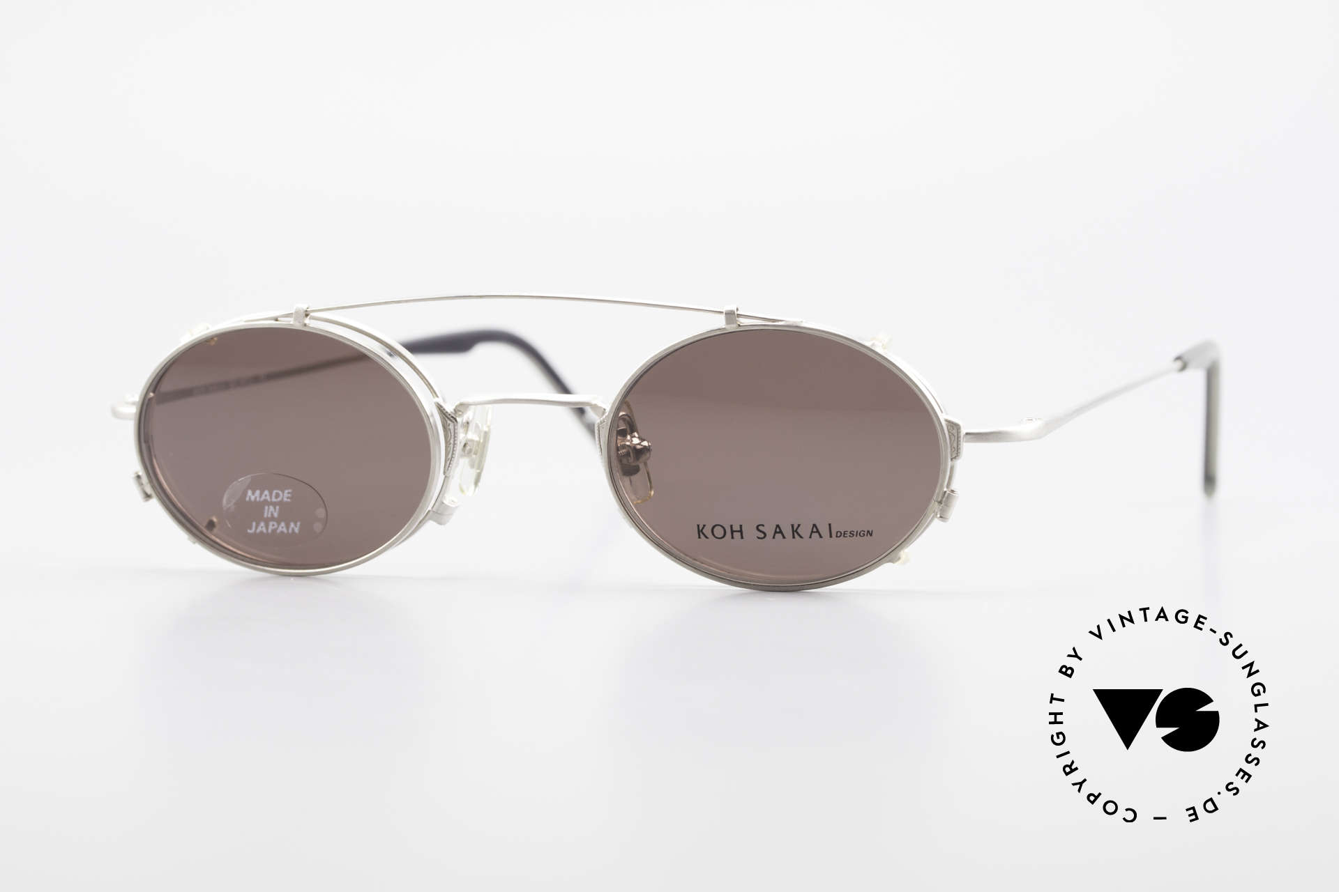 Koh Sakai KS9711 Small Oval Glasses Clip On, rare, vintage Koh Sakai glasses with clip-on from 1997, Made for Men and Women