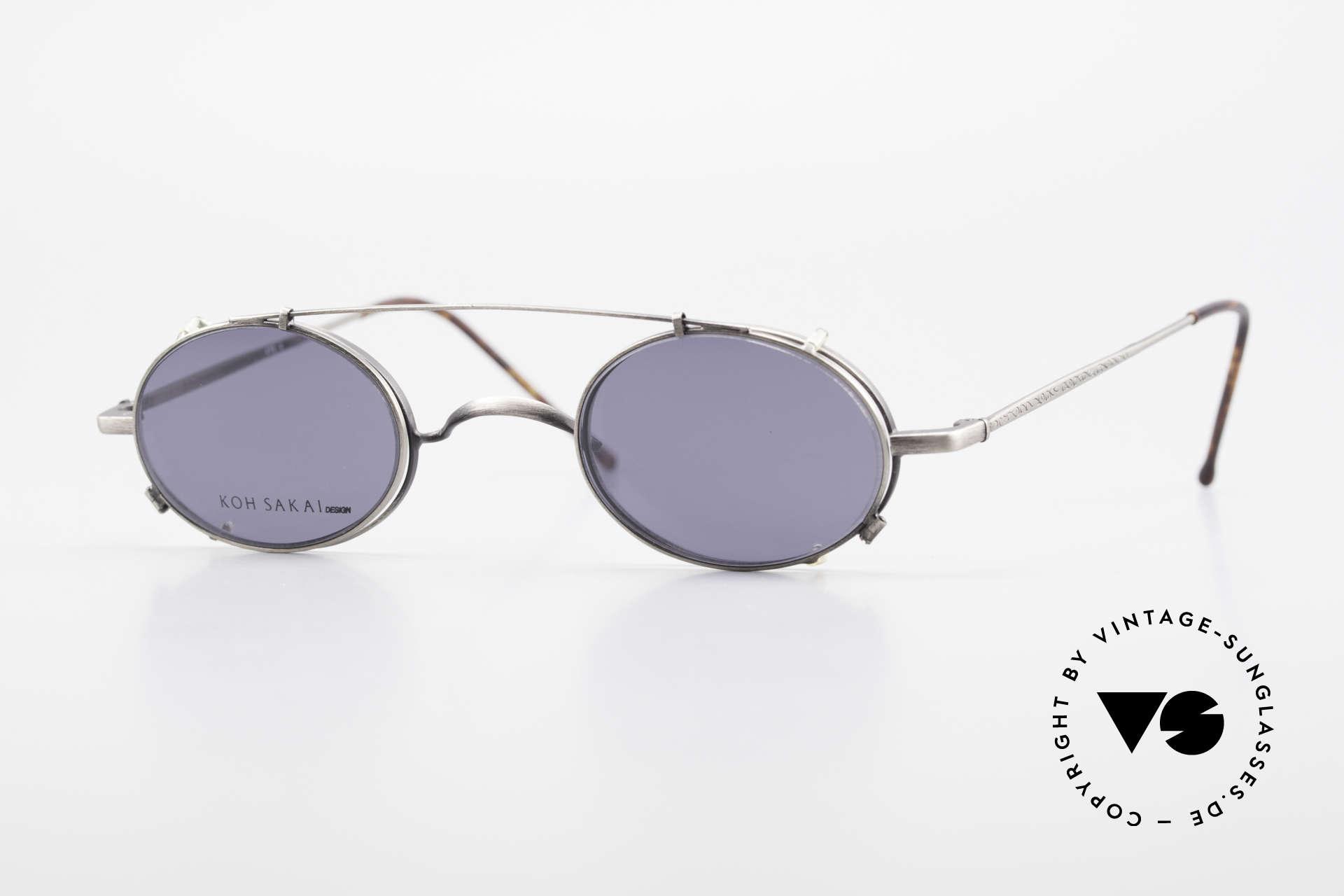 Koh Sakai KS9591 Small Oval Eyeglasses Clip On, rare, vintage Koh Sakai glasses with clip-on from 1997, Made for Men and Women