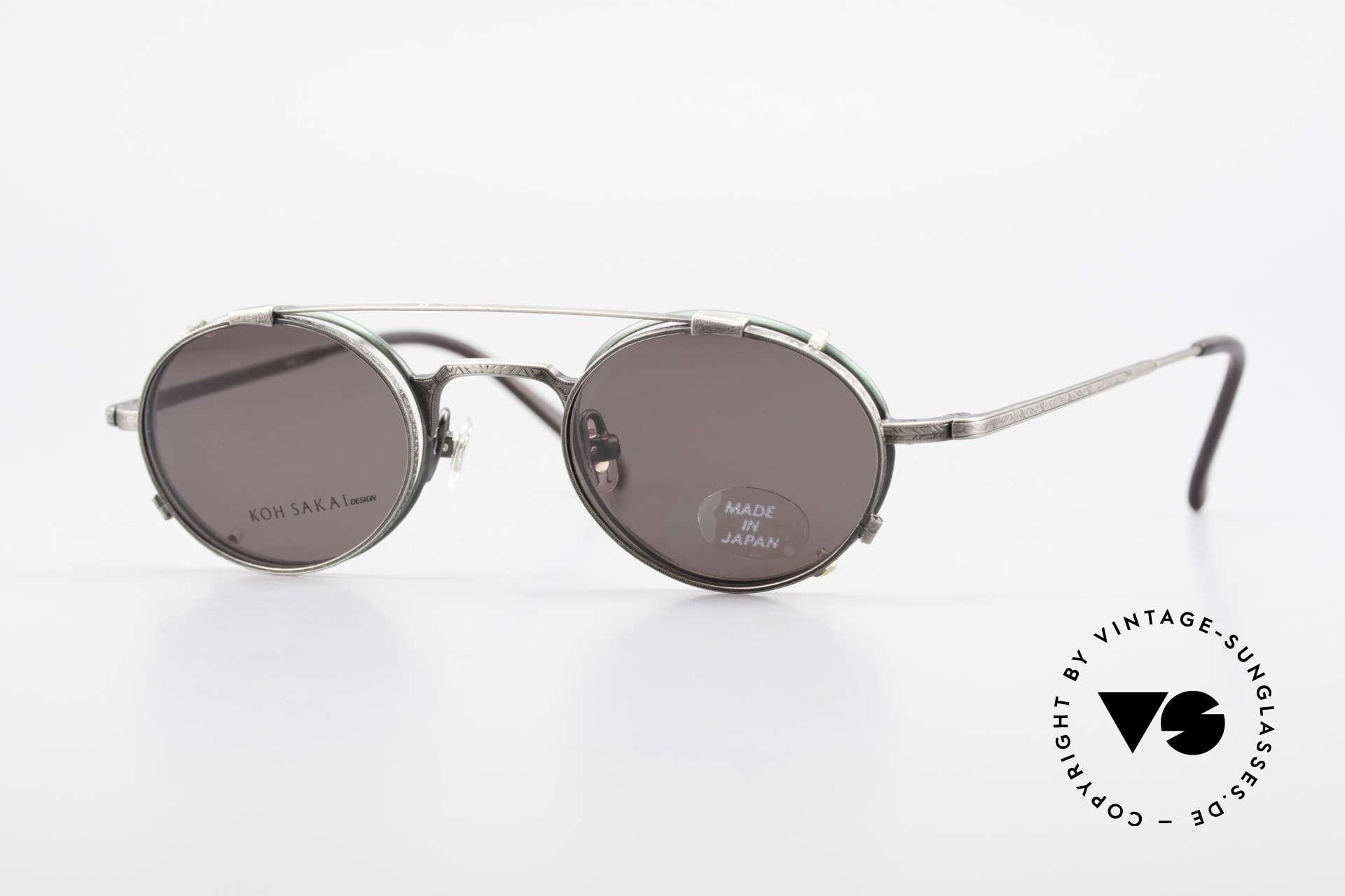 Koh Sakai KS9301 90s Oliver Peoples Eyevan Style, rare, vintage Koh Sakai glasses with clip-on from 1997, Made for Men