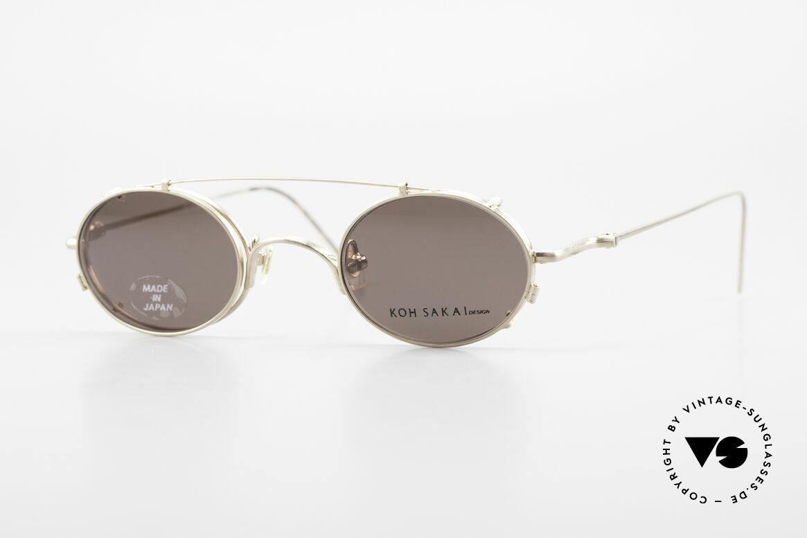 Koh Sakai KS9541 90s Oval Frame Made in Japan, rare, vintage Koh Sakai glasses with clip-on from 1997, Made for Men and Women