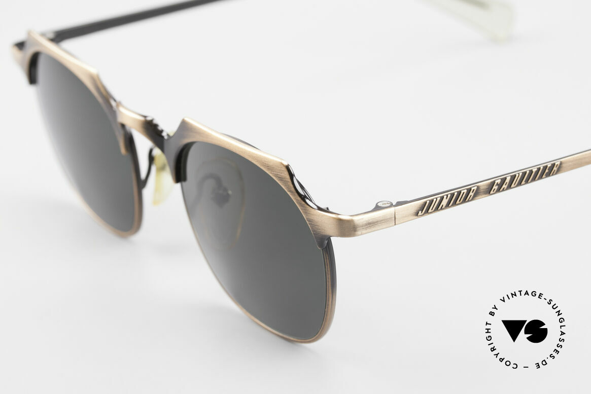 "Jean Paul Gaultier 57-0171 Square Panto Sunglasses 90's, high-class & fancy frame finish in ""antique-brass"", Made for Men"