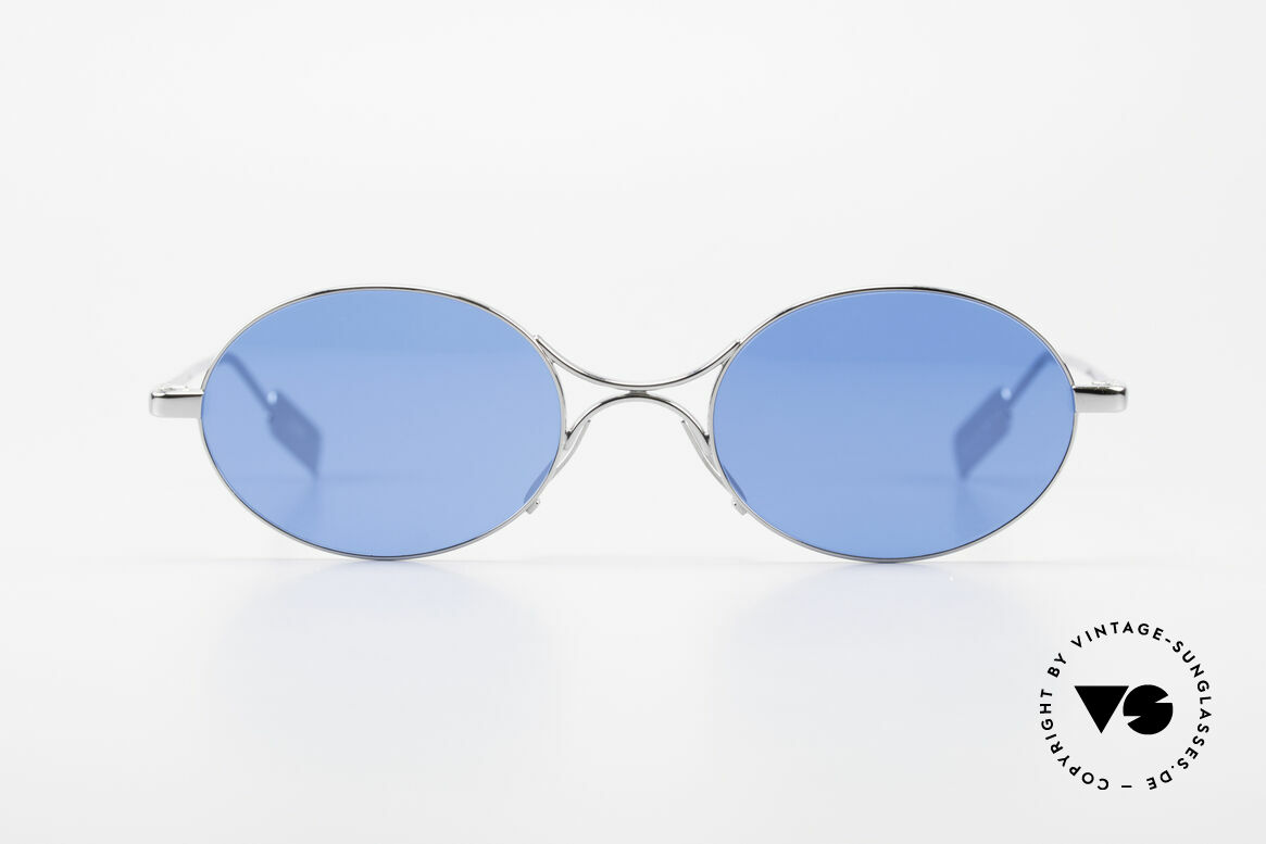 Jean Paul Gaultier 55-0173 Oval JPG Designer Sunglasses, very creative metal frame; chrome-plated silver, Made for Men and Women