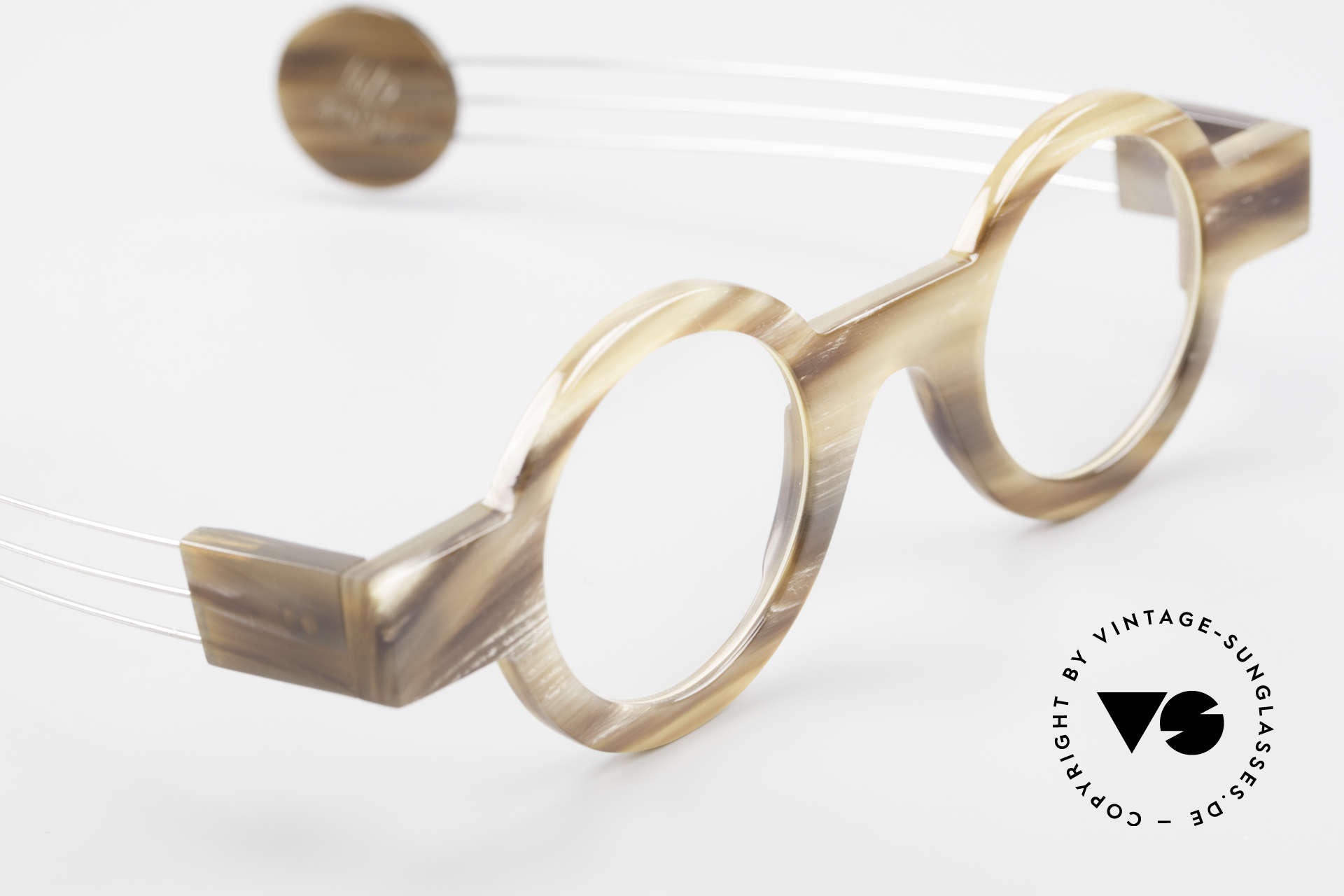 P. Klenk Bold 022 Horn Frame Twistable Temples, unworn (like all our vintage genuine buffalo horn frames), Made for Men and Women