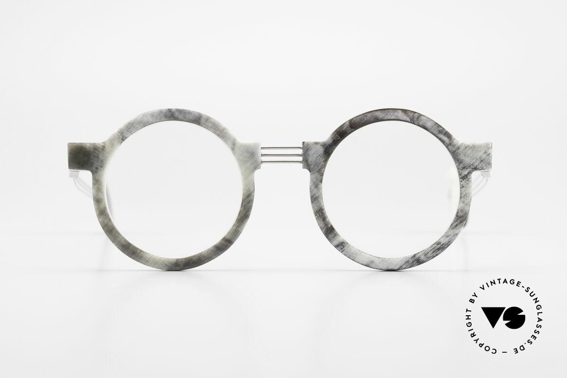 P. Klenk String 027 Genuine Horn Glasses Panto, striking round horn eyeglass-frame by P. Klenk from 1992, Made for Men and Women