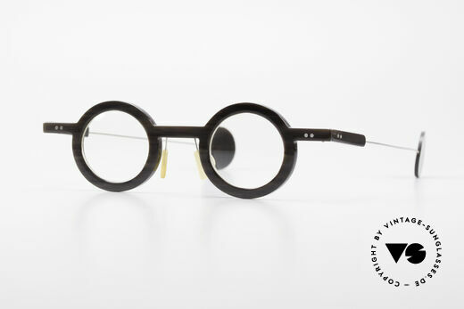 P. Klenk Rugby 014 Genuine Horn Glasses Round Details