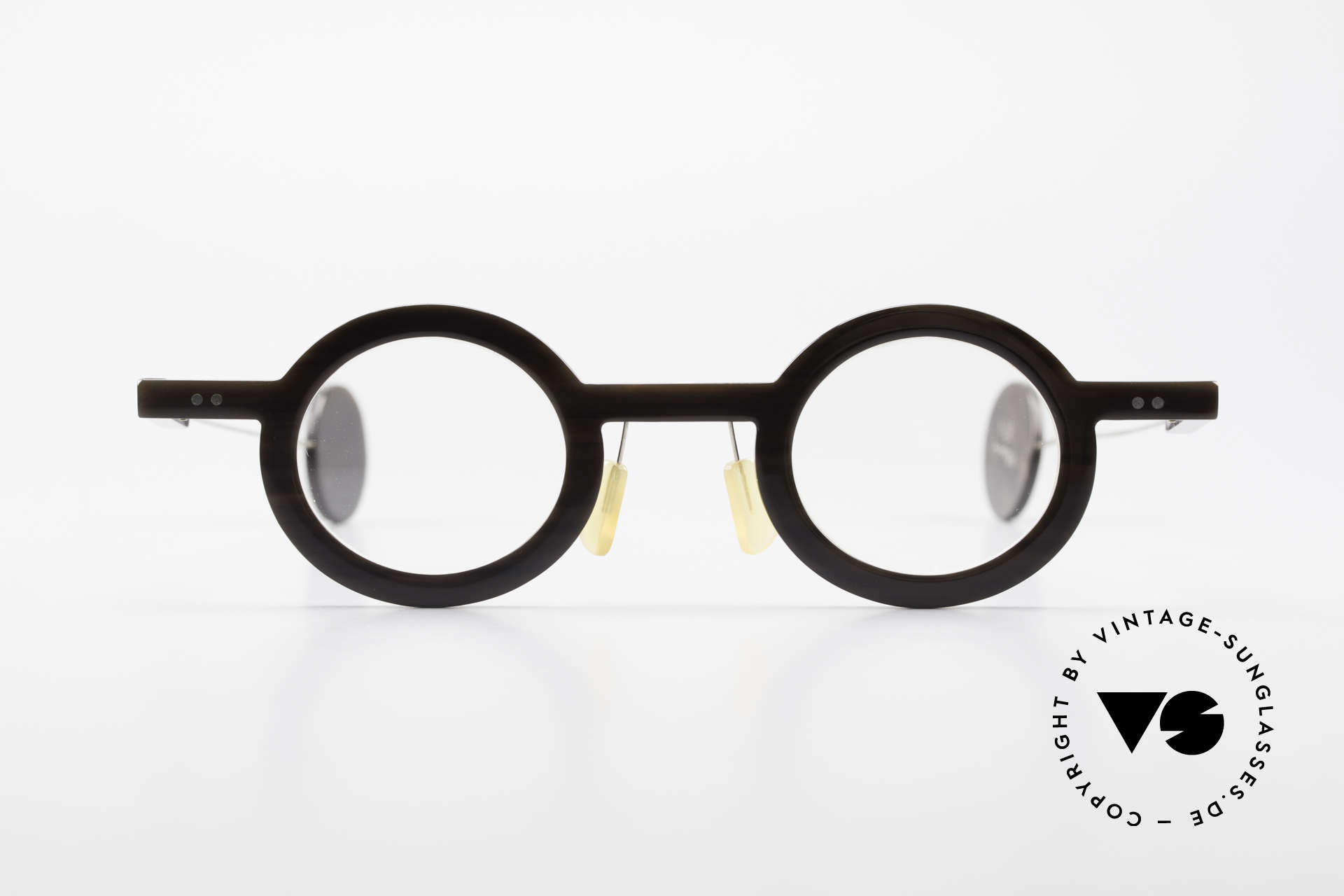 P. Klenk Rugby 014 Genuine Horn Glasses Round, precious handmade rarity (made of genuine buffalo horn), Made for Men