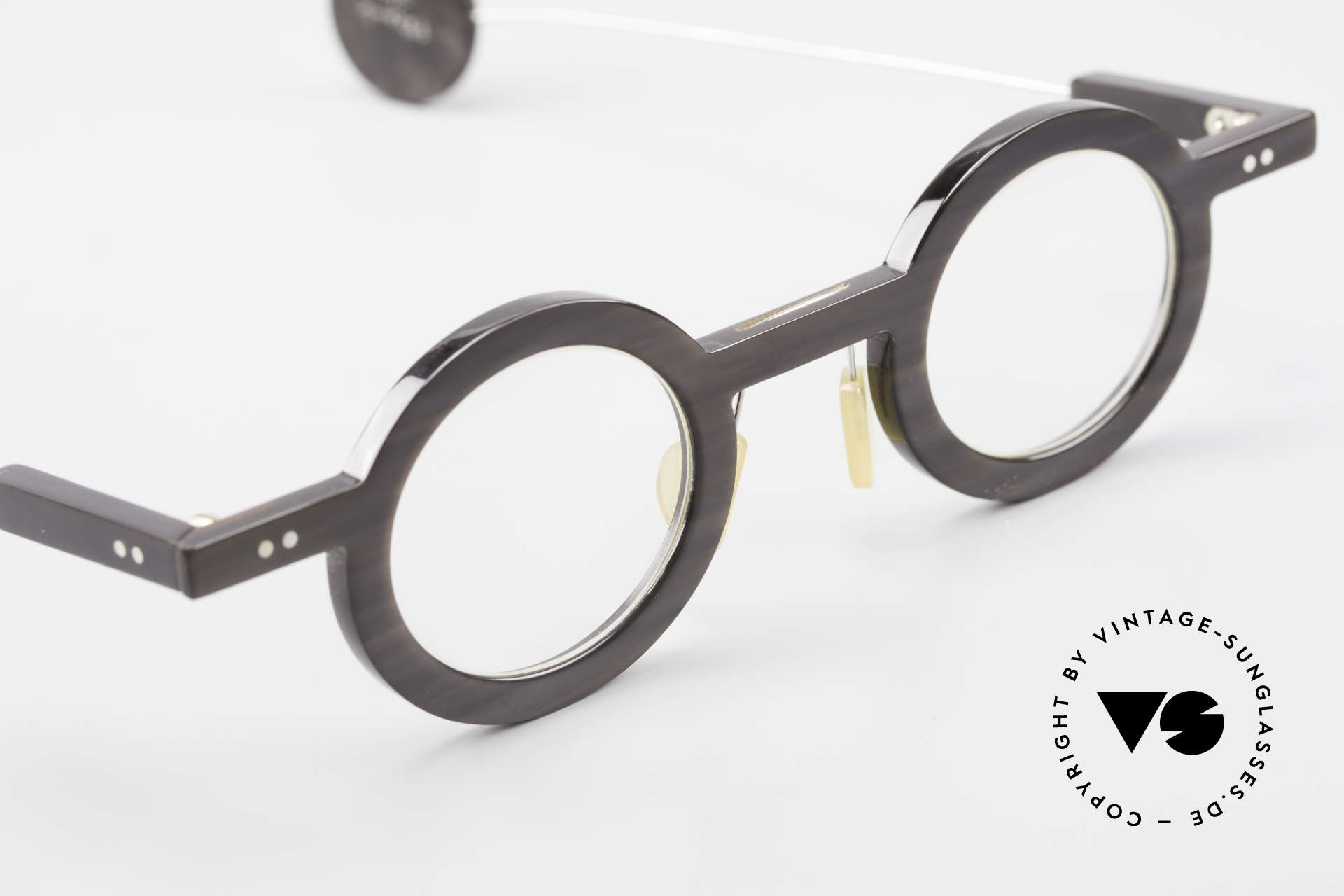 P. Klenk Rugby 014 Genuine Horn Glasses Round, unworn (like all our vintage genuine buffalo horn frames), Made for Men