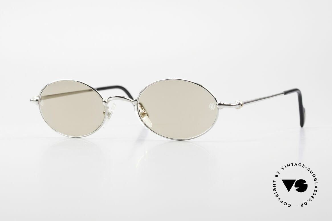 Cartier Filao Oval Platinum Sunglasses 90's, oval CARTIER vintage sunglasses in size 49/21, 135, Made for Men and Women