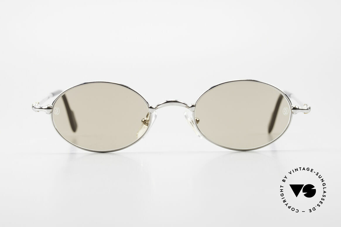 Cartier Filao Oval Platinum Sunglasses 90's, unisex model of the 'THIN RIM' Collection by Cartier, Made for Men and Women