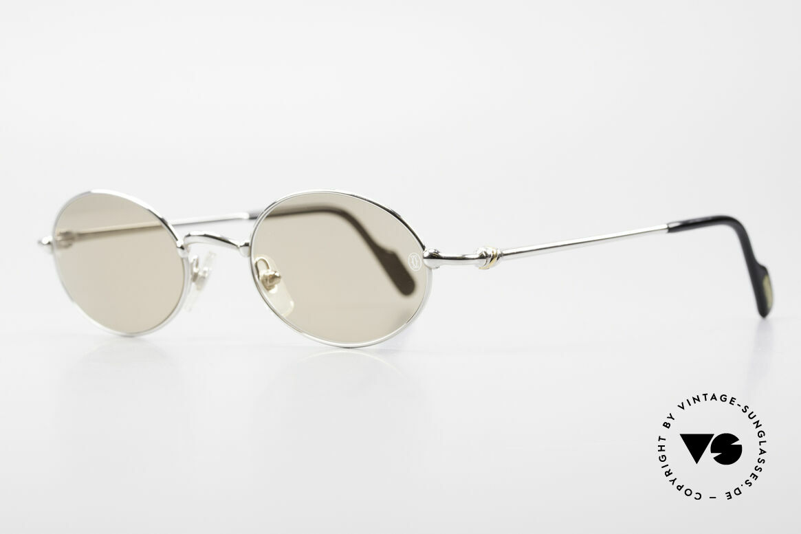 Cartier Filao Oval Platinum Sunglasses 90's, costly 'Platine Edition' (frame with platinum finish), Made for Men and Women