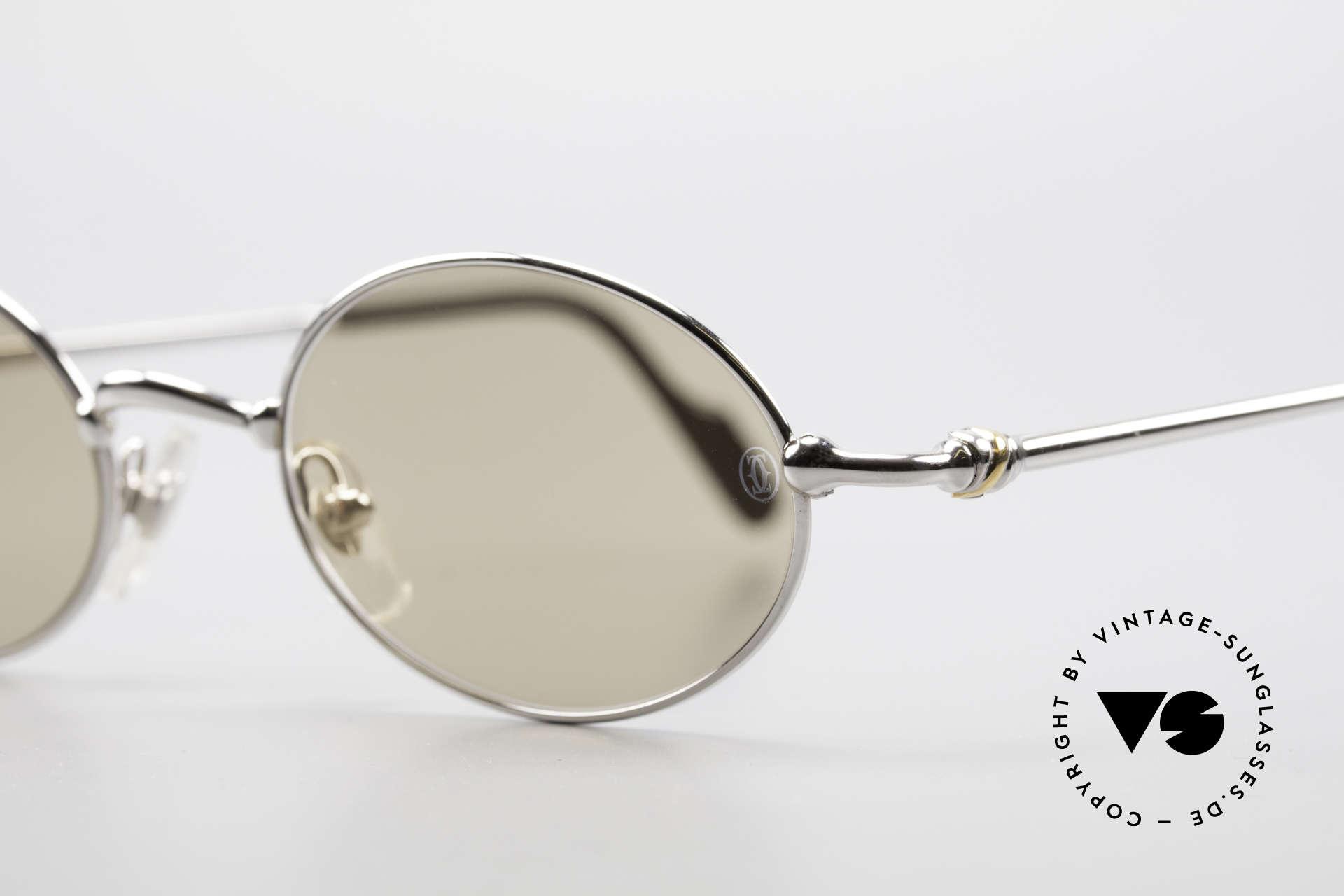 Cartier Filao Oval Platinum Sunglasses 90's, original Cartier mineral lenses (with CARTIER logo), Made for Men and Women