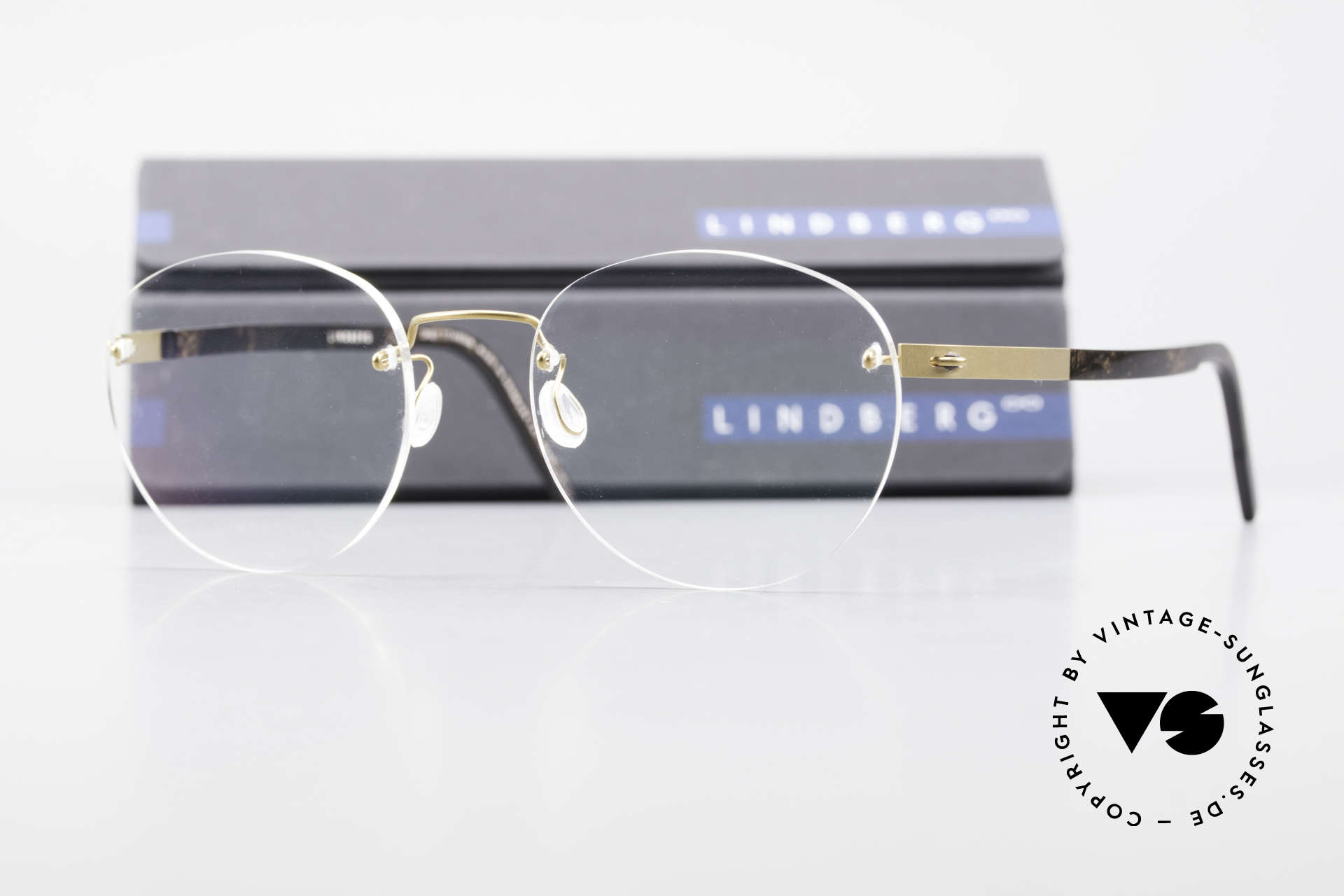 Lindberg 2110 Spirit Titan Round Rimless Titanium Frame, resilient & flexible frame (lens shape can be modified), Made for Men and Women