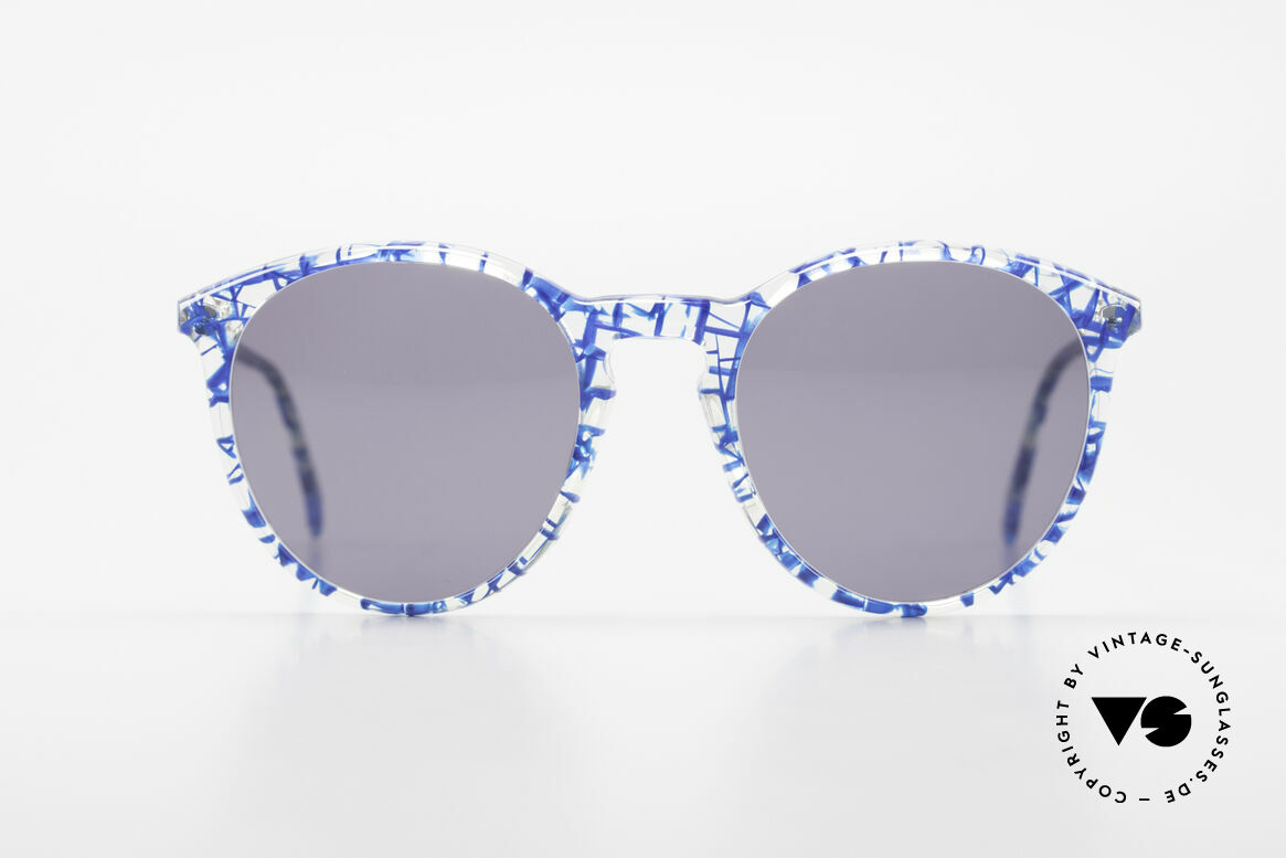 Alain Mikli 901 / 323 Panto Sunglasses Crystal Blue, classic 'panto'-design with light gray sun lenses, Made for Men and Women