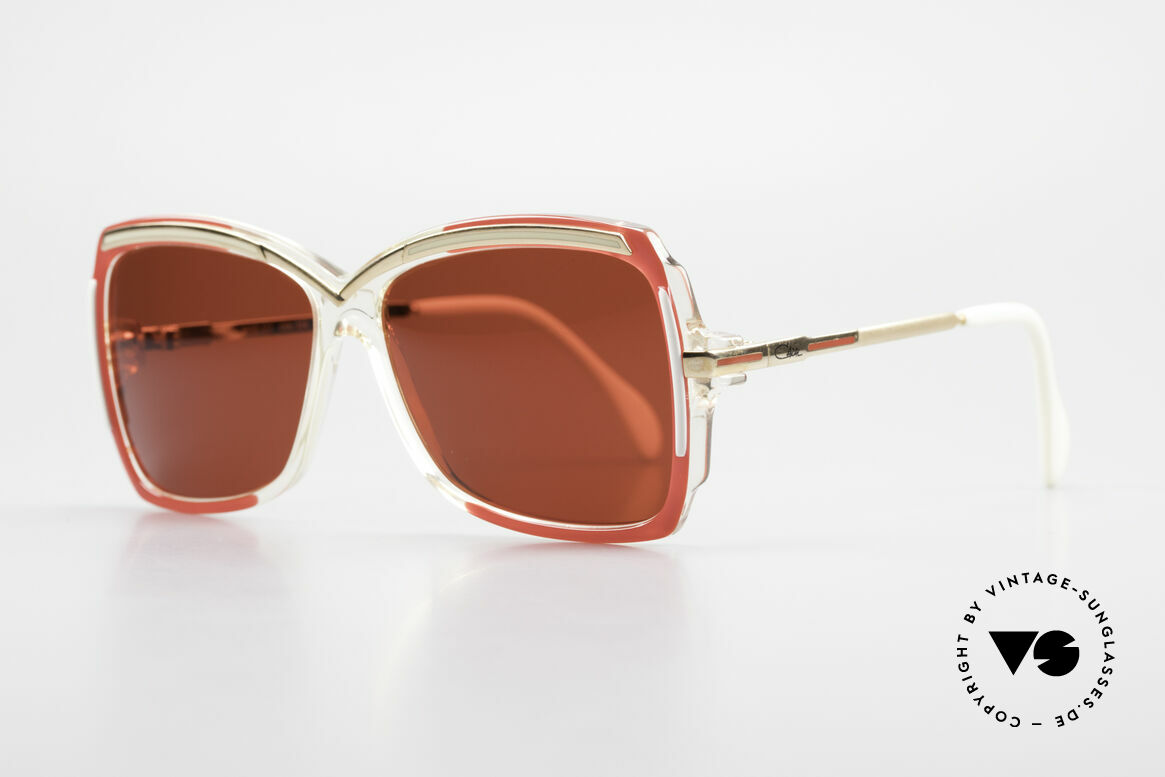 Cazal 177 3D Red Designer Sunglasses, brilliant color concept in crystal / red / gold / white, Made for Women
