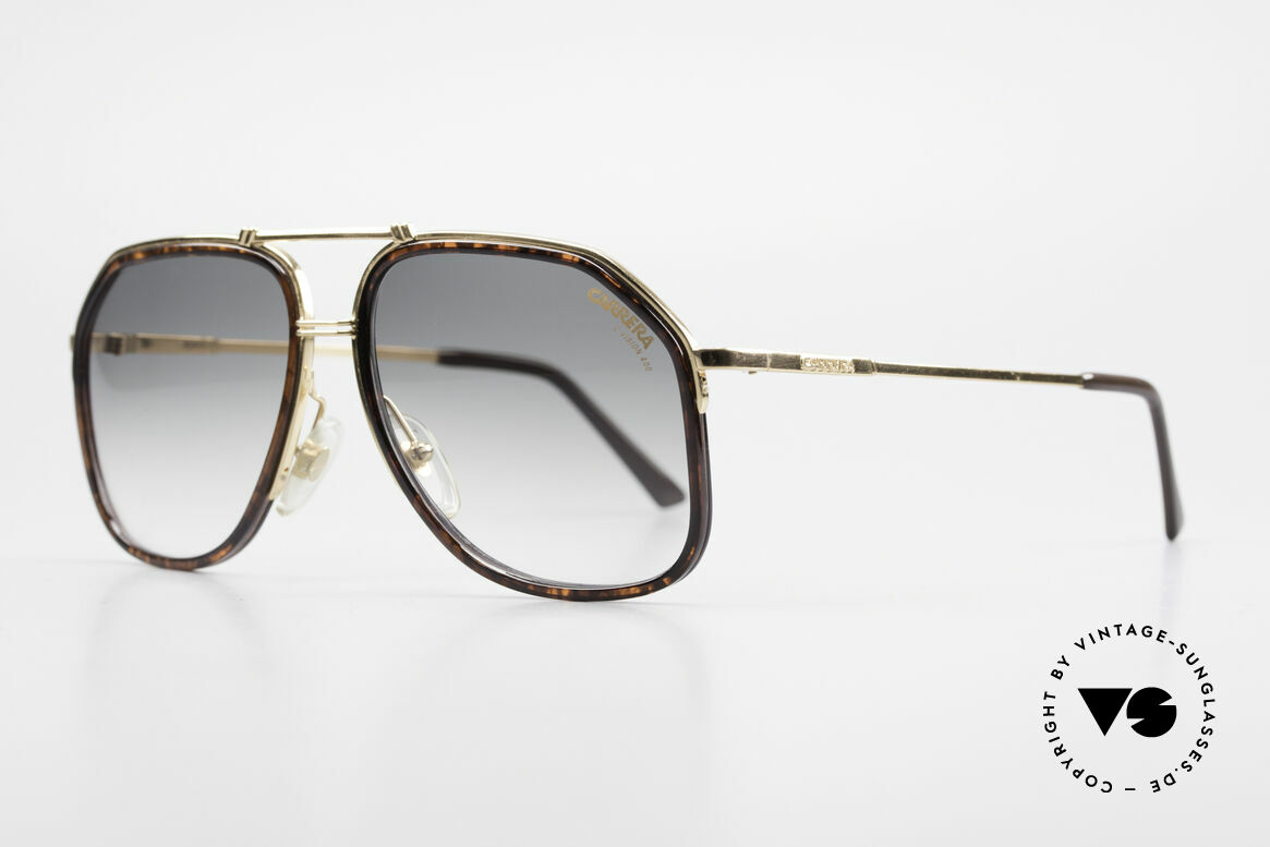 Carrera 5370 Classic Vintage Sunglasses, half-rimmed metal frame with extra acetate rims, Made for Men