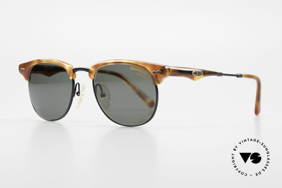 Carrera 5624 Clubmaster Shape Sunglasses, true 'gentlemen glasses' in top-quality (black / brown), Made for Men
