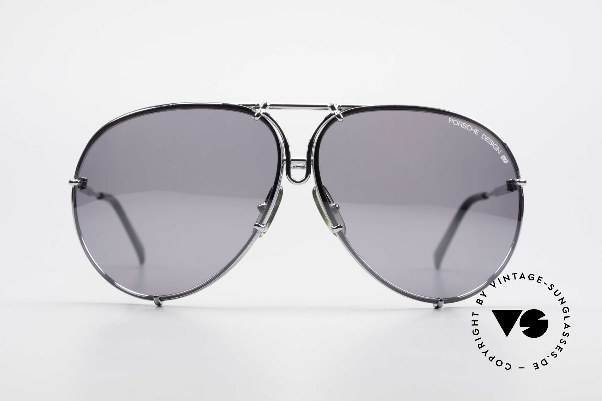 Porsche 5623 Silver Mirrored Sun Lenses, the legend with interchangeable lenses; true vintage, Made for Men and Women