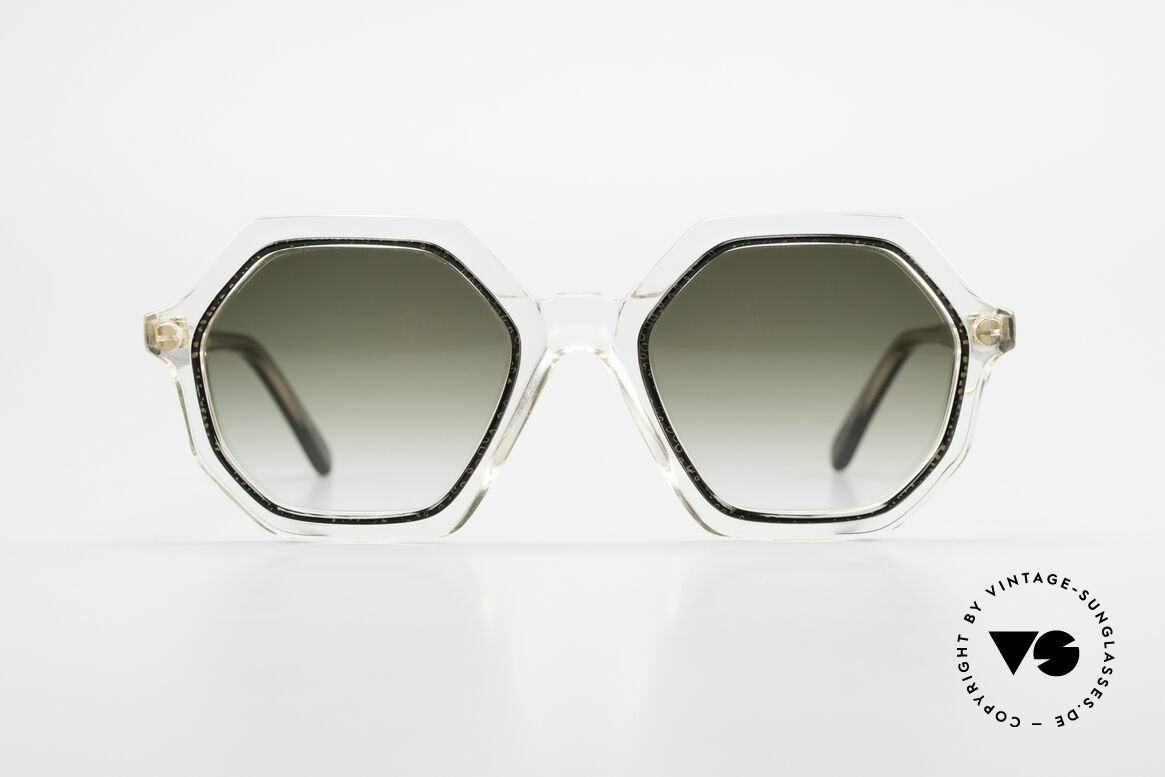 Sonia Rykiel SR46 727 70's Octagonal Sunglasses, a true rarity, clear frame with gold&black + golden Ring, Made for Women