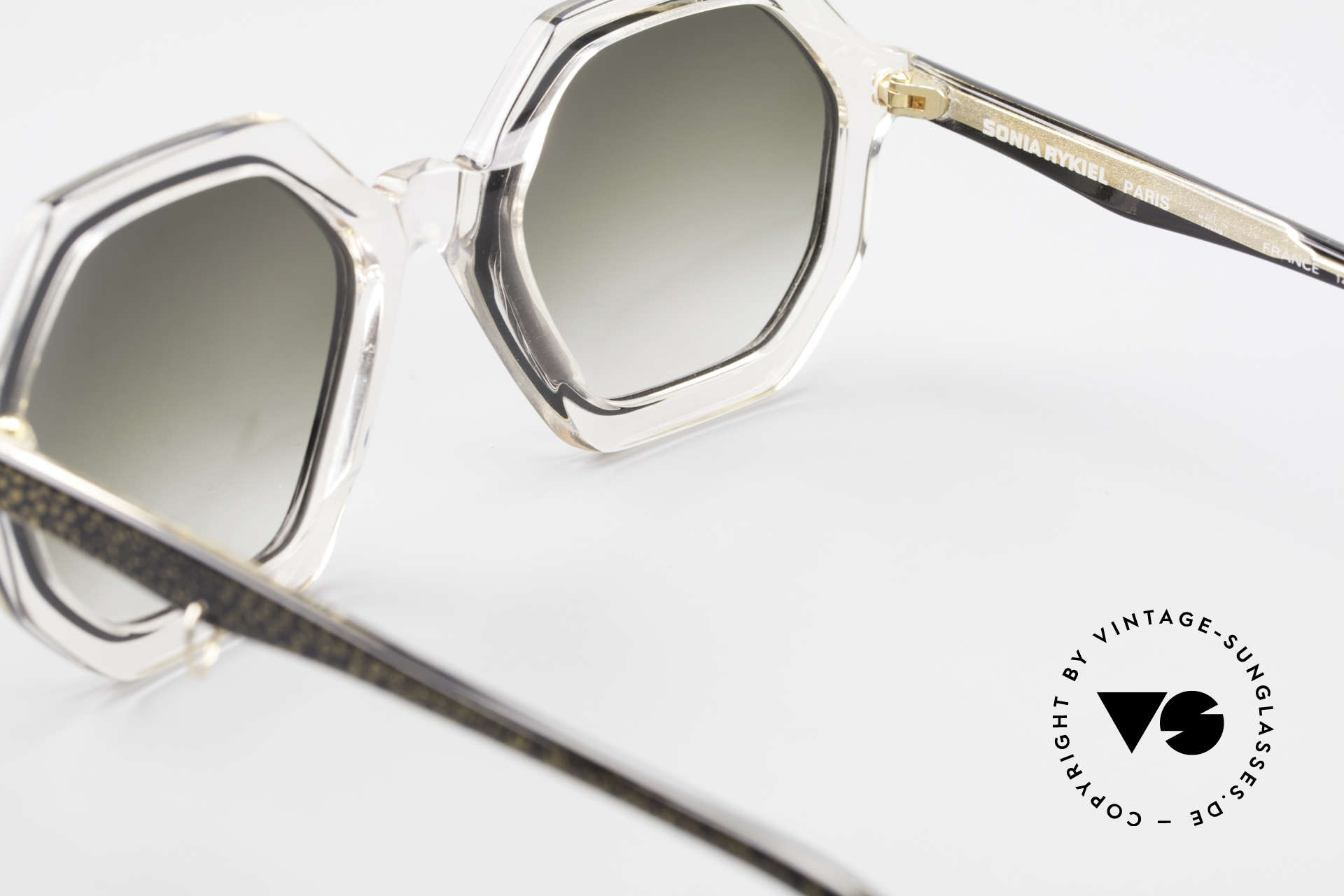 Sonia Rykiel SR46 727 70's Octagonal Sunglasses, sun lenses (100% UV) can be replaced with prescriptions, Made for Women