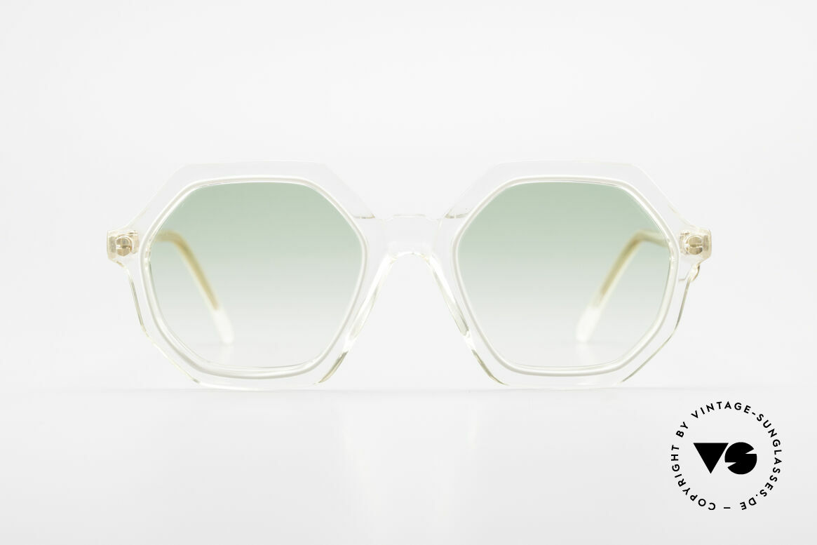 Sonia Rykiel SR46 444 Octagonal Sunglasses 1970's, true rarity, crystal clear frame with white + golden Ring, Made for Women