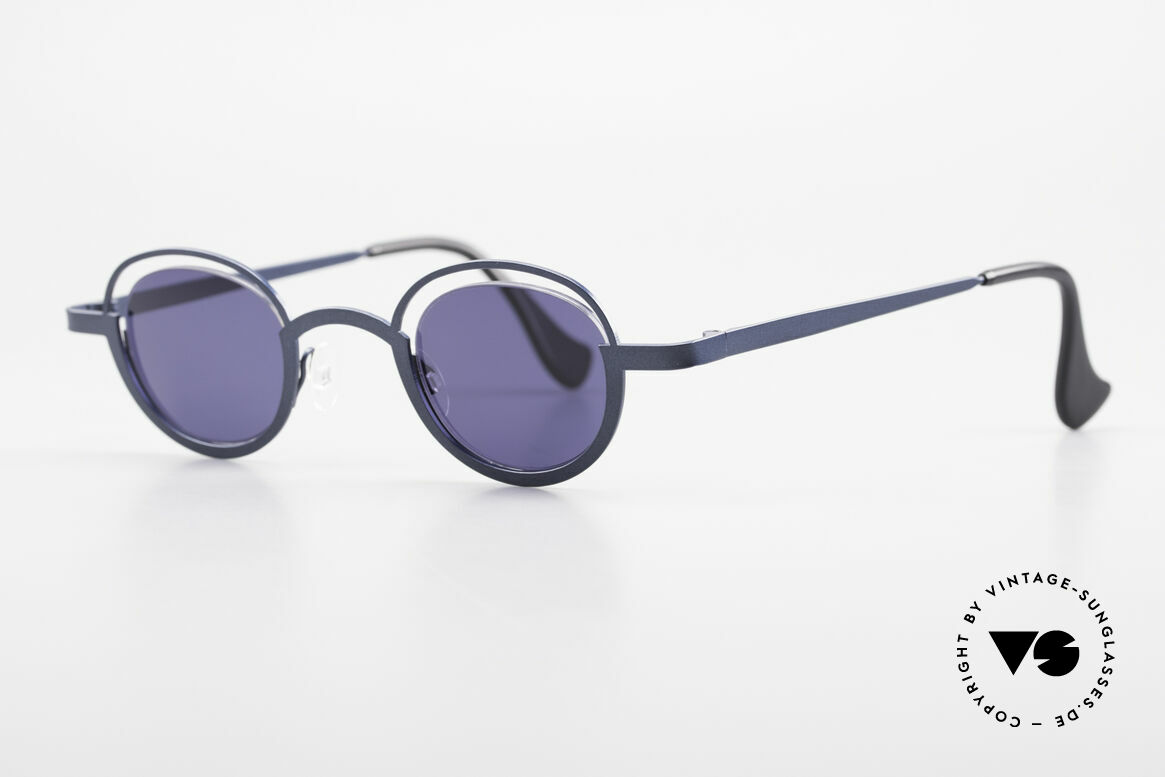 Theo Belgium Dozy Slim Crazy 90's Unisex Sunglasses, lenses are fixed with a nylor thread (truly unique!), Made for Men and Women