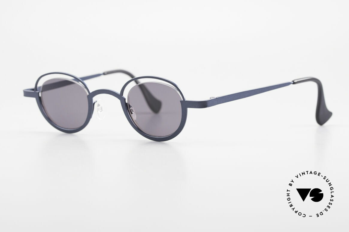 Theo Belgium Dozy Slim 90s Crazy Designer Sunglasses, lenses are fixed with a nylor thread (truly unique!), Made for Men and Women