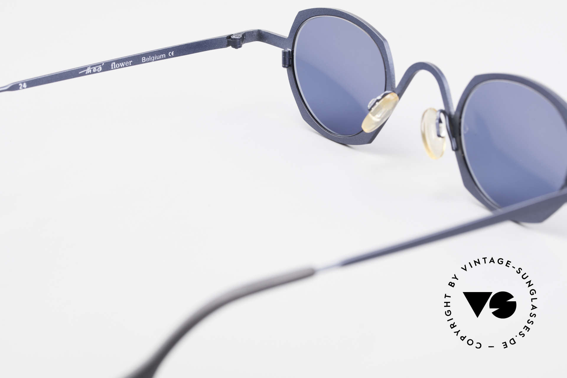 Theo Belgium Flower Round 90s Designer Sunglasses, blue tinted sun lenses can be replaced with prescriptions, Made for Men and Women