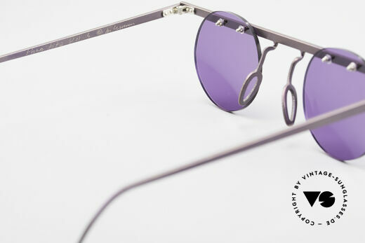 Theo Belgium Tita VII 5 Vintage Titanium Sunglasses, purple sun lenses could be replaced with optical lenses, Made for Men and Women