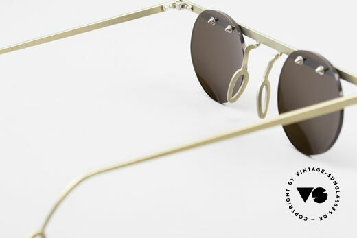 Theo Belgium Tita VII 10 Crazy Titanium Sunglasses 90s, brown sun lenses could be replaced with optical lenses, Made for Men and Women
