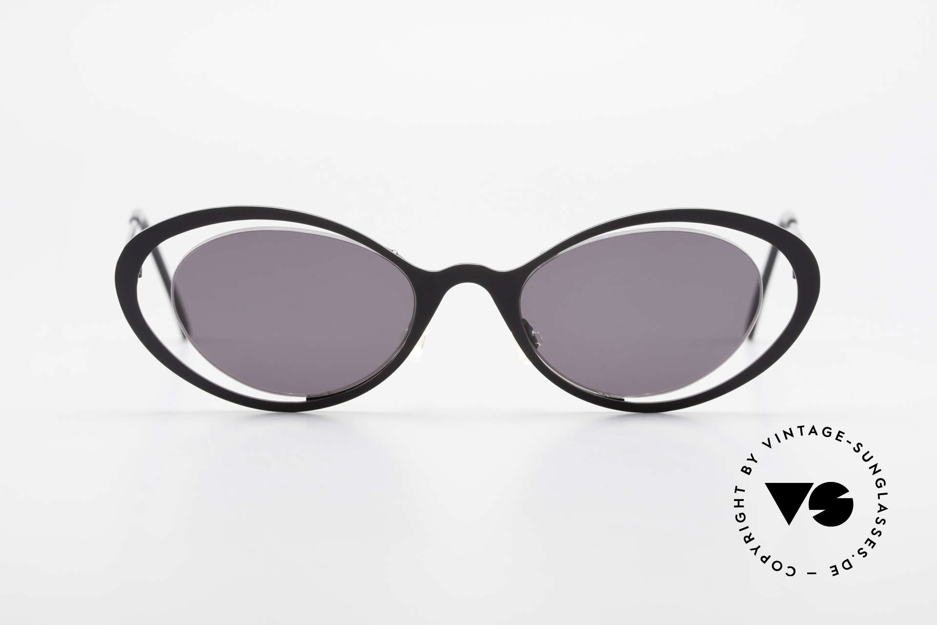 """Theo Belgium LuLu Rimless Cateye Sunglasses 90s, fancy model: """"rimless"""" & """"rimmed"""" at the same time, Made for Women"""