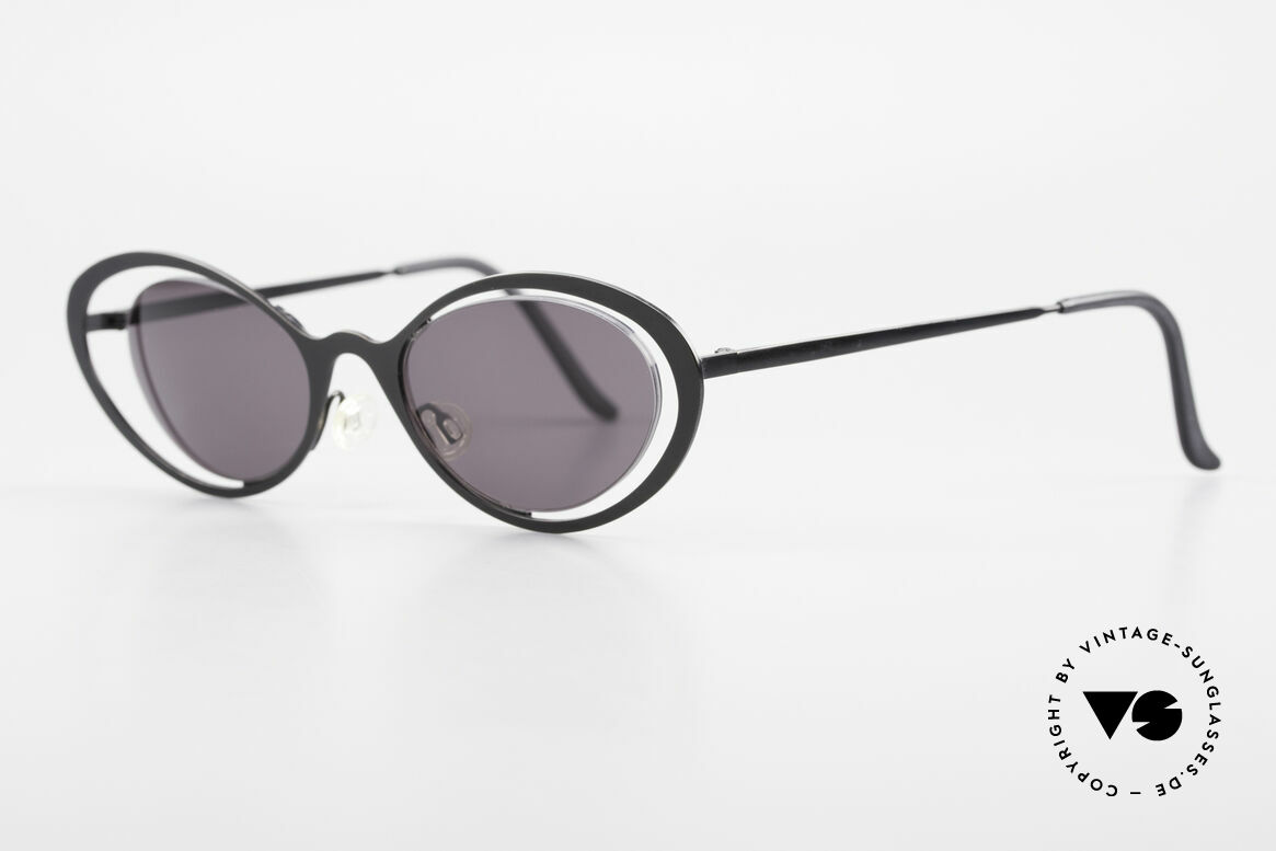 Theo Belgium LuLu Rimless Cateye Sunglasses 90s, lenses are fixed with a nylor thread (Cat's eye style), Made for Women