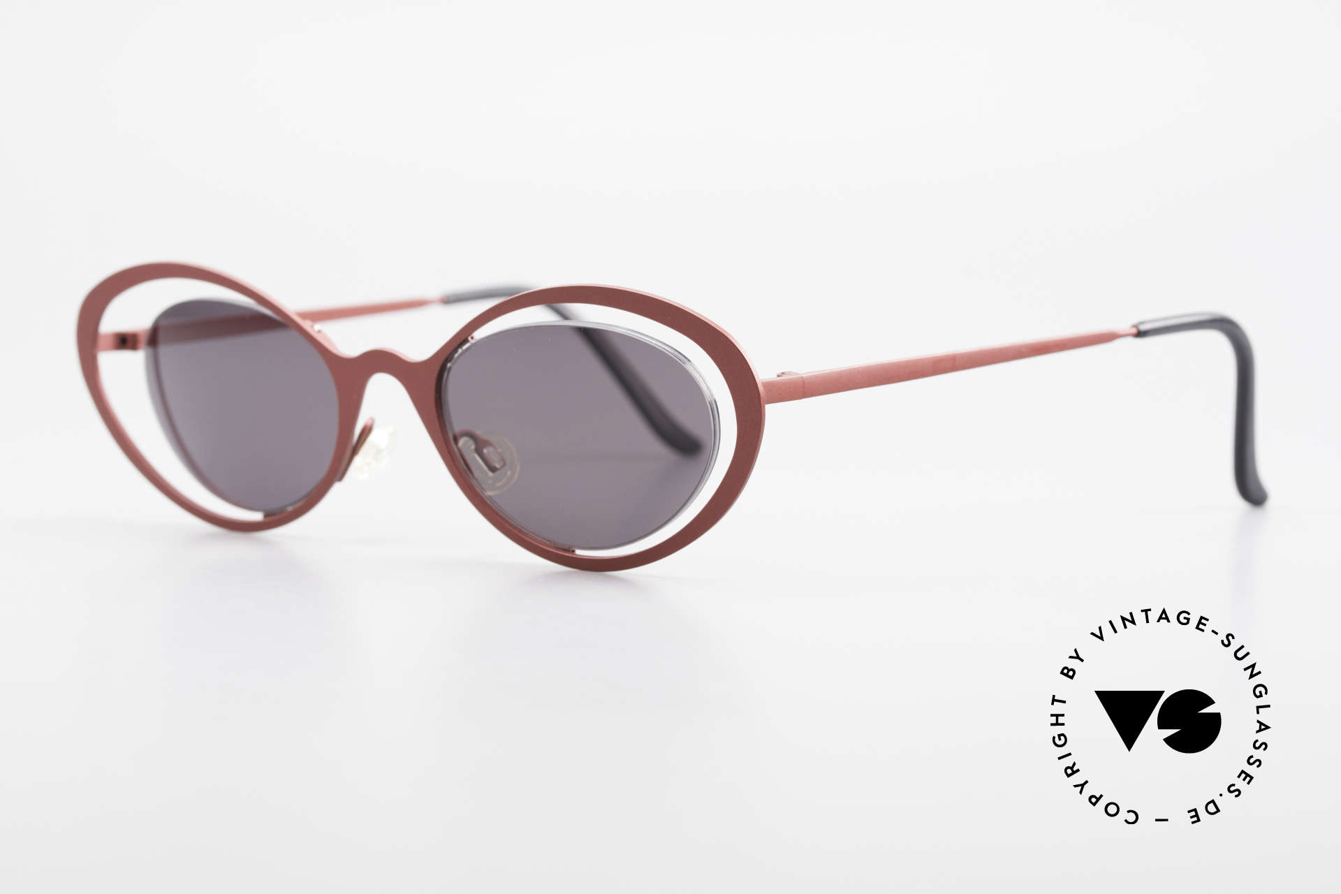 Theo Belgium LuLu Rimless Cateye Shades 90's, lenses are fixed with a nylor thread (Cat's eye style), Made for Women