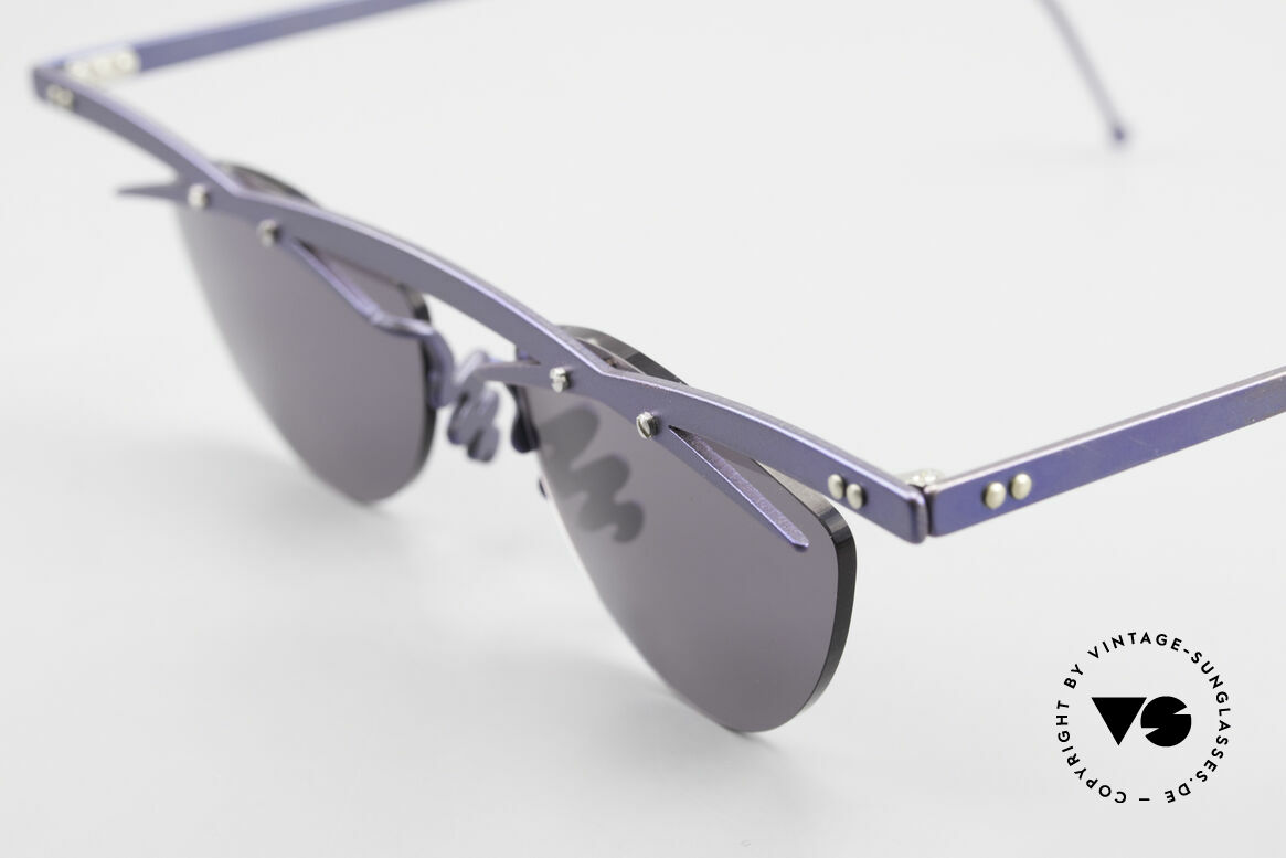 Theo Belgium Tita III 2 Crazy Vintage Sunglasses XL, the gray sun lenses are fixed with screws at the frame, Made for Men and Women